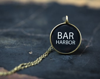 Bar Harbor Necklace - Miniature Pendant - Vintage Typewriter Key Inspiration - Glossy Resin Charm