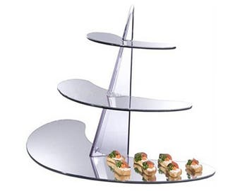 Acrylic Display Rack/Stand - 3 Tiered Mirrored Shelf