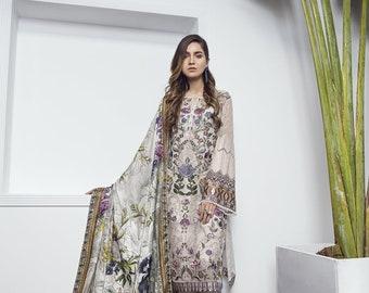 Baroque Chantelle Chiffon 2018 Original (Eden) , Made to order, Partywear, formal wear, Pakistani Indian Bengali Shalwar Kameez