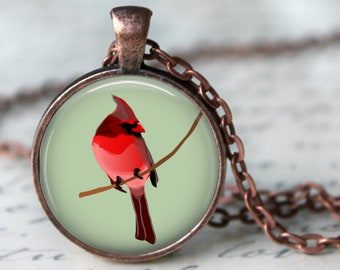 Painted Cardinal Pendant, Necklace or Key Chain - Choice of 4 Bezel Colors