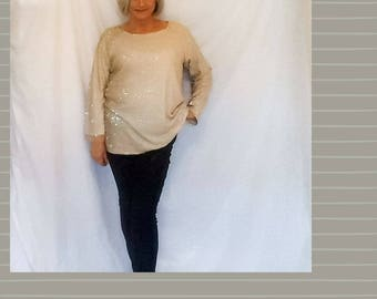 Women's pale gold sequin sweater medium sized jumper.