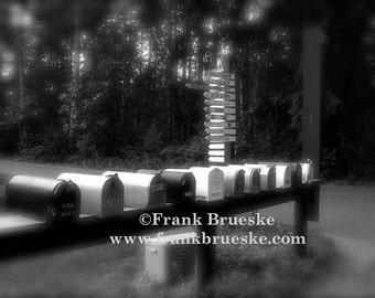 River mailboxes, country mailboxes, rural mailboxes, black & white fine art photography, mailboxes, FREE SHIPPING, Frank Brueske