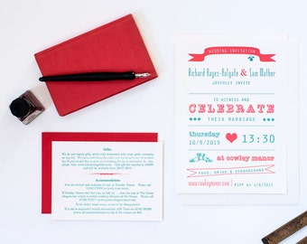 Letterpress wedding invitation, green + red, printed invitation, vintage invitation