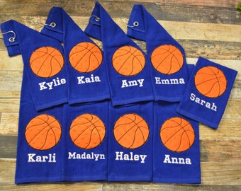 Basketball Sports Towel with Hook - Personalized with Player's Name - Available in Red, Royal Blue, Black or White