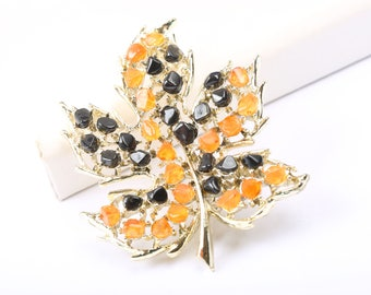 Autumn Leaf Brooch, Vintage 1960s, with Orange and Brown Stones