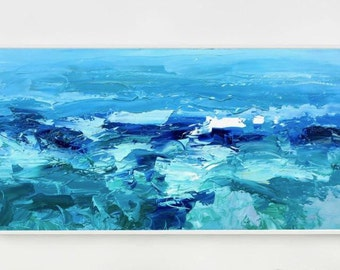 Abstract Ocean Painting Sea Painting Ocean Art Wave Painting Blue Canvas Art Beach Home Decor Wall Art Christmas Gift for Her Gifts for Him