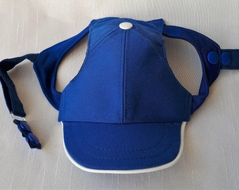 Dog Baseball Cap Royal Blue. Handmade following your measurements. Embroidery Available. See Further Instructions Below.