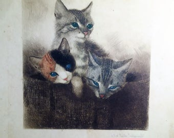 Vintage Guido Gruenwold cat drawing