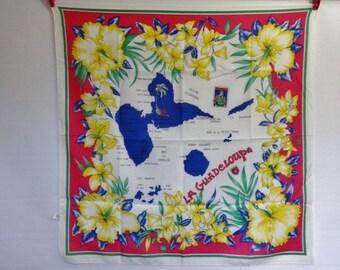 """Vintage Souvenir scarf La Guadeloupe islands  76cm x 75cm / 29.9 x 29.5"""""""