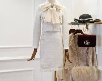 Free ship Tweed suit for coat and dress white style