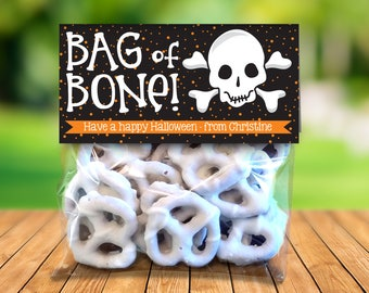 "Bag of Bones Treat Toppers - Halloween Party, Halloween Favor, 4"" Treat Bag Topper 