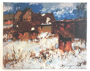 Village, Giggle Print on Canvas, Ready to Hang