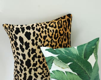 Cheetah Velvet & Banana Leaves // Velvet Throw Pillow // Velvet Cushion Covers //