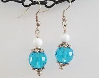 Aqua & White Earrings, Aqua Earrings