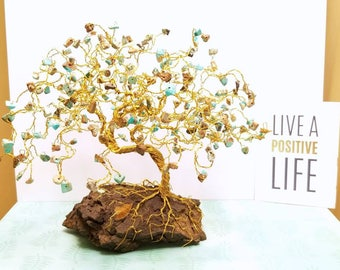 Magnesite Gemstone Tree, Wire Bonsai Tree, Energy Tree, Tree of Life Sculpture, Beaded Gem Tree