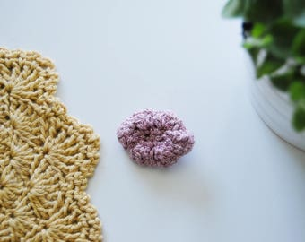 Crochet cloud brooch, cloud pin, glitter pink, ready to ship