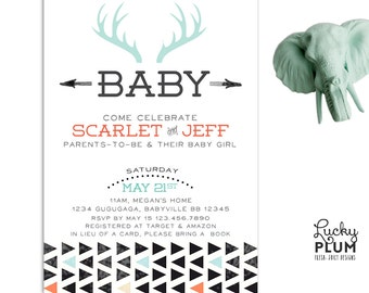 Deer Baby Shower Invitation / Couples Baby Shower Invitation / Bohemian Feather Invitation/ Coed Baby Shower Invitation / Tribal Arrow