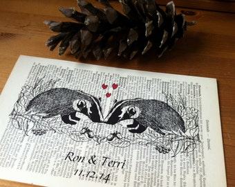 Badgers Sweet Love Valentine Wedding Engagement Anniversary Gift Personalized Art Print on Antique 1896 Dictionary Book Page