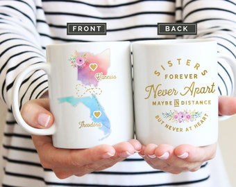 Sister Moving Mugs, Sister Moving Gift, Sister Moving Away Mug, Long Distance Sisters Mug, Long Distance Sister Gifts, Moving Away Mug