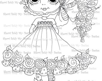 INSTANT DOWNLOAD Digital Digi Stamps Big Eye Big Head Dolls Digi   Besties IMG977  By Sherri Baldy