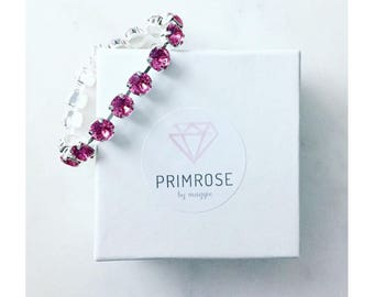 Pink Rose + Silver, Handmade Swarovski Crystal bracelet, Bridesmaid Bracelet, Bridesmaid Jewelry, Pink Bracelet, Tennis Bracelet