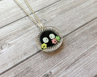 Soot sprite necklace from Spirited Away - Miyazaki, Ghibli studio, geek, cute, kawaii, japanese, lasercut acrylic