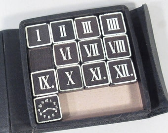 Vintage clock numbers, roman numeral pieces, black and white game pieces, number blocks, clock parts, craft supplies