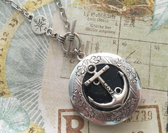 Anchor Locket Necklace Silver Compass Jewelry Photo Locket, Locket Compass Necklace charm, Girlfriend gift Jewelry
