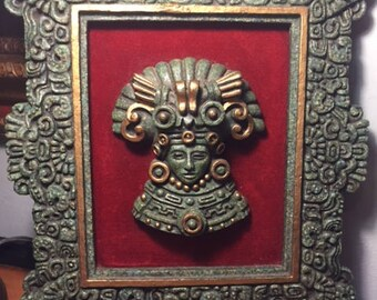 Large Zarebski Malachite Hand Carved Wall Plaque Mayan/Aztec Vintage