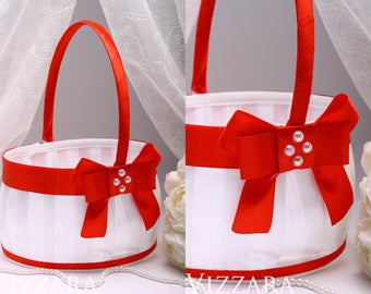 unique flower girl baskets Red Wedding sign Bride basket Flower girl basket Lace Basket set Wedding Baskets Red wedding Сonfetti Girl Basket