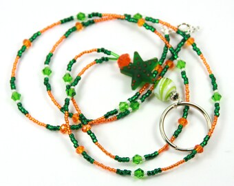 GREEN STAR - Beaded Badge Holder, Beaded Lanyard, Green Lanyard