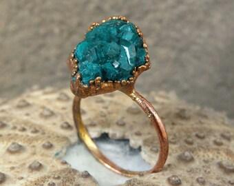 Rough dioptase ring | Dioptase crystal ring | Rough dioptase crystal copper ring | Dioptase electroformed ring