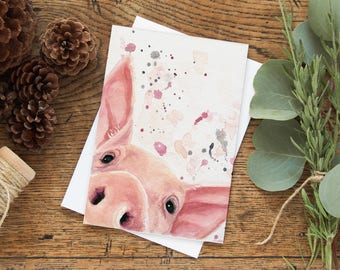Pig Card - Farm Animal Card - Farm Animals - Vegan Card - Pig Lover Gift - Cute Pig Card- Animal Lover gift - Christmas Stocking Stuffers