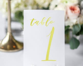 Watercolor Wedding Table Numbers YELLOW // table cards // watercolor // wedding // table numbers // paper table cards // watercolor card