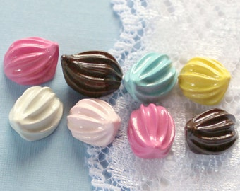 8 Pcs Tiny Colorful Whipped Cream Dollop Cabochons - 10x8mm