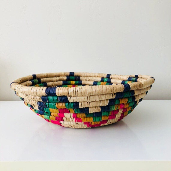 Vintage Raffia Coiled Basket Large Colorful Rainbow Tribal Woven Natural Straw Storage Basket Bohemian Boho Decor