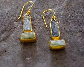 Gemstone earrings with Tanzanite, Black Tourmaline and Citrine