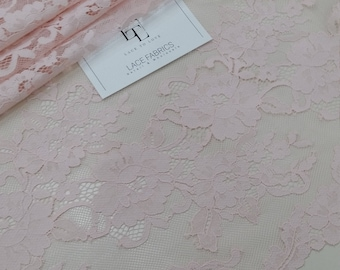 Pink lace fabric, French lace, Chantilly lace, Wedding lace, Bridal lace, Evening dress lace, Lingerie lace, fabric by the yard LL86002