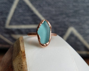 Light Blue Beach Glass and Electroformed Copper Ring Size 5.5
