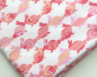Rabbit Repeat by Michael Miller Fabrics, Bunny Rabbit Fabric, Coral Pink White Easter Fabric, OOP, HTF
