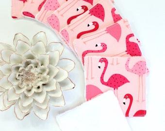 Zero Waste Flamingo Cotton Rounds, Reusable Makeup Remover Pads Gift For Women, Eco Friendly Facial Rounds