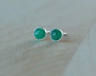 Emerald Gemstone 4mm Bezel Set on Niobium or Titanium Posts (Hypoallergenic Stud Earrings for Sensitive Ears)