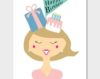 Birthday Party Girl Greeting Card