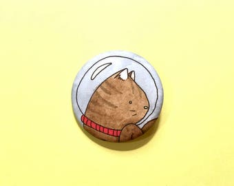 Tabby in Space - cute pinback button accessory cat pin