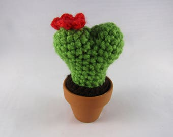 Small Heart Cactus - Crochet Heart Cactus with Flower - Gift for Her - Desk Accessories - Cactus Plush - Heart Plant - Amigurumi Cactus