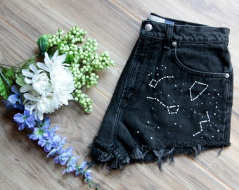Black high waist vintage denim shorts Size 10 | Ripped distressed shorts | Constellation embroidered denim | Unique hipster festival short |