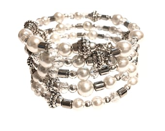 Pearl, glass and silver wire wrap bracelet