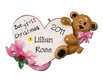 Personalized Baby Girl's  Baby Boy's First Christmas Ornament Heart Baby Bear-, Newborn, Baby Shower Gift