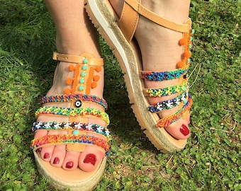 Greek Sandals, Gladiator Sandals, Egst, Boho sandals, Hippie sandals, Handmade,  Evil Eye, Friendships Sandals, Leather, Made in Greece