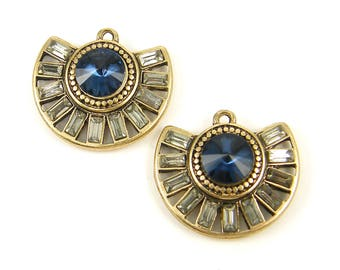 Sapphire Blue Earring Findings, Blue Antique Gold Semi Circle Earring Dangles Blue Rhinestone Clear Baguette Vintage Style Pendant |B9-13|2